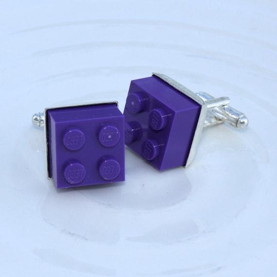 Dark Purple Square Lego Block Cufflinks - Silver plated - Valentine's Day Gift - Groomsmen Gift, Wedding accessory