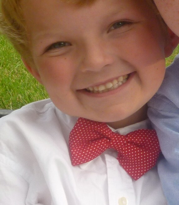 Ring Bearer Outfit - Boy's Red with White Pindots Bow tie - clip on