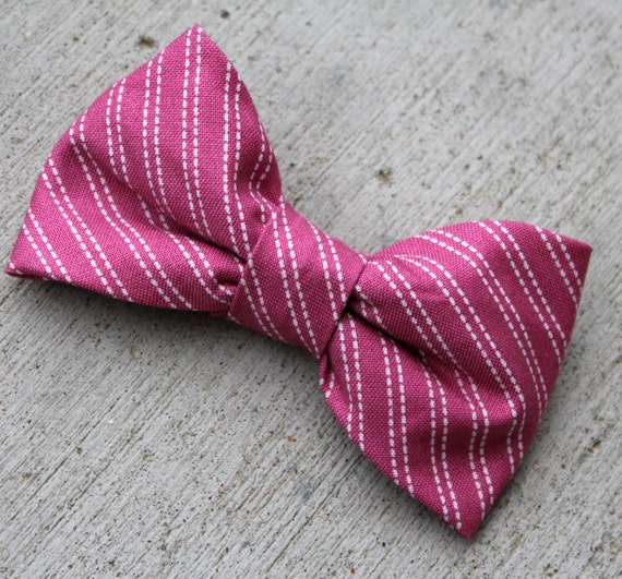 Bow Tie in Dark Pink Stitch Stripe  - for men and boys - clip on, pre-tied with strap or self tying