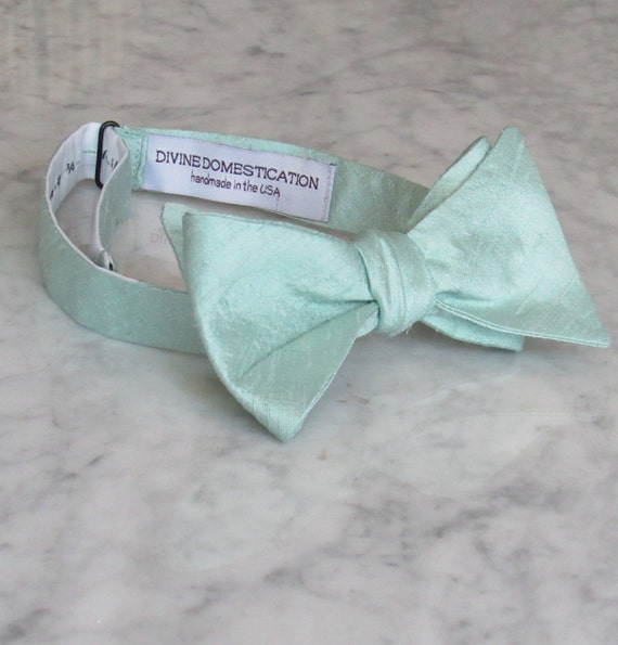 Soft Mint Green Silk Bow Tie for men or boys - Groomsmen and wedding tie - clip on, pre-tied with strap or self tying