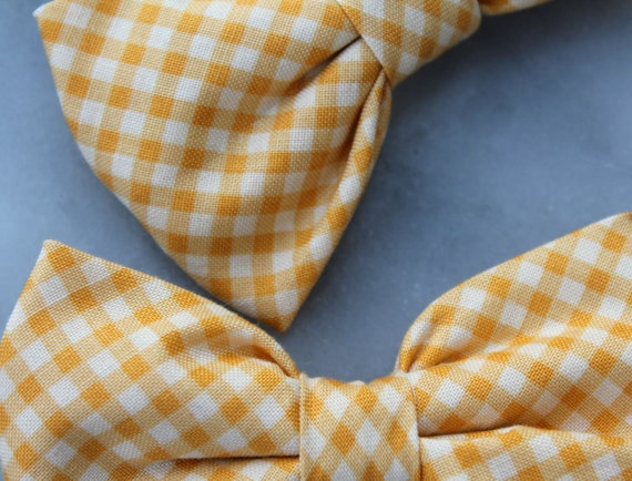 Gold Gingham Bowtie for men or boys - clip on, pre-tied with strap or self tying - wedding ties or ring bearer outfit