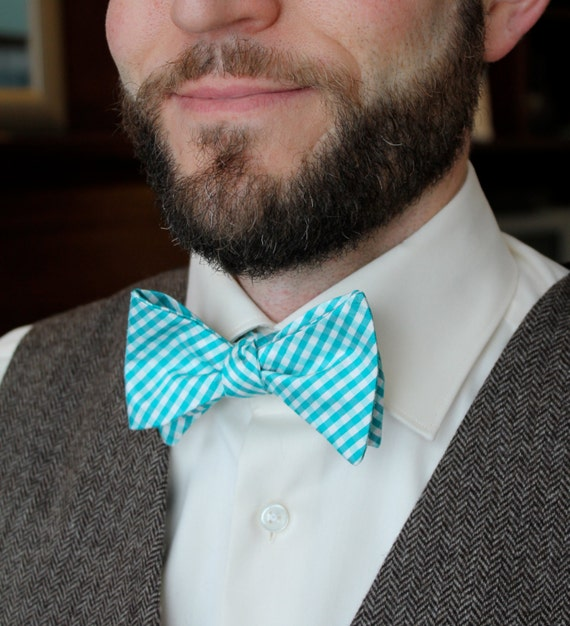 Bow Tie in Silk Turquoise Plaid - Self tying - freestyle, clip on or pre-tied with strap - Groomsmen gift, wedding ties, ring bearer outfit