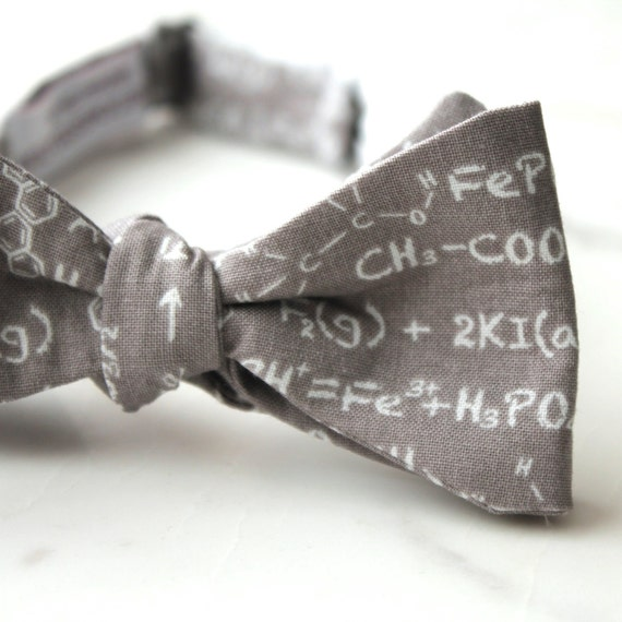 Chemestry and Math Equations Bow Tie in Silver Gray and White - Groomsmen and wedding tie - clip on, pre-tied with strap or self tying