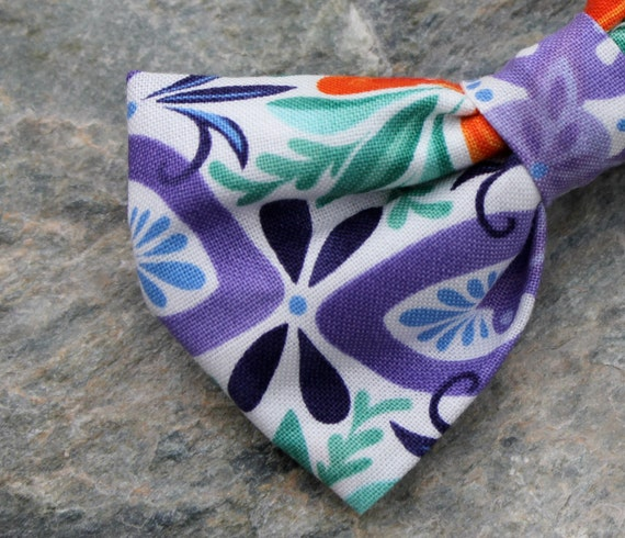 Boy's Purple and Turquoise Funk Bow Tie - clip on