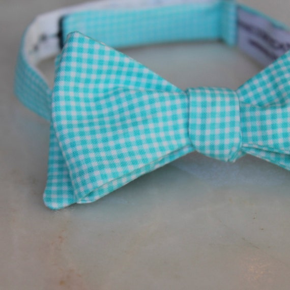 Men's Bow Tie in Turquoise and White Tiny Gingham - Self tying, pre-tied adjustable strap or clip on - Groomsmen attire