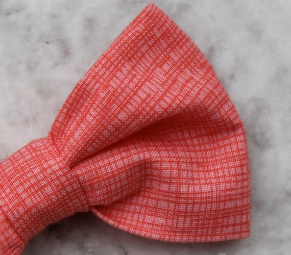 Bow tie and matching suspenders in  Coral Crosshatch- Clip on