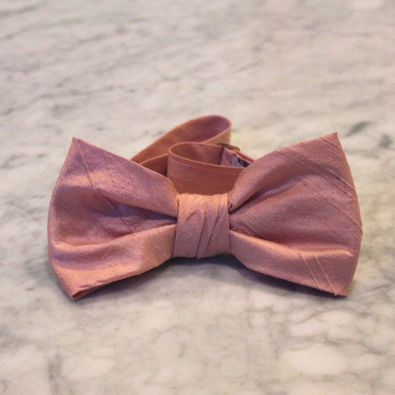 Mens Bow Tie in Dusty Rose Pink Silk - self tying, pre-tied adjustable or clip on