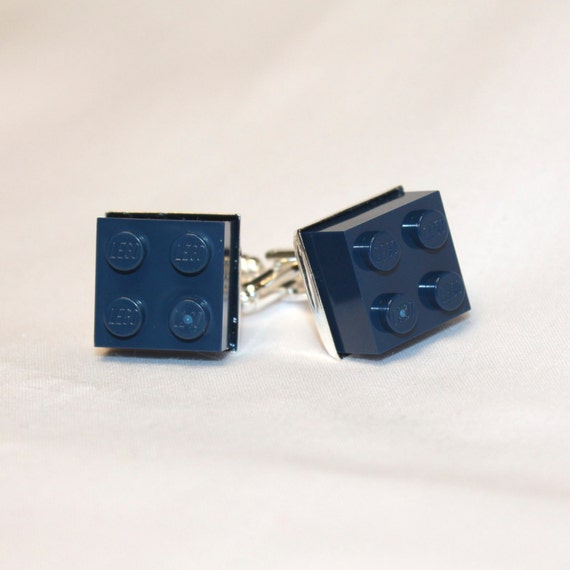 Navy Blue Square Lego Brick Cuff Links - Silver plated