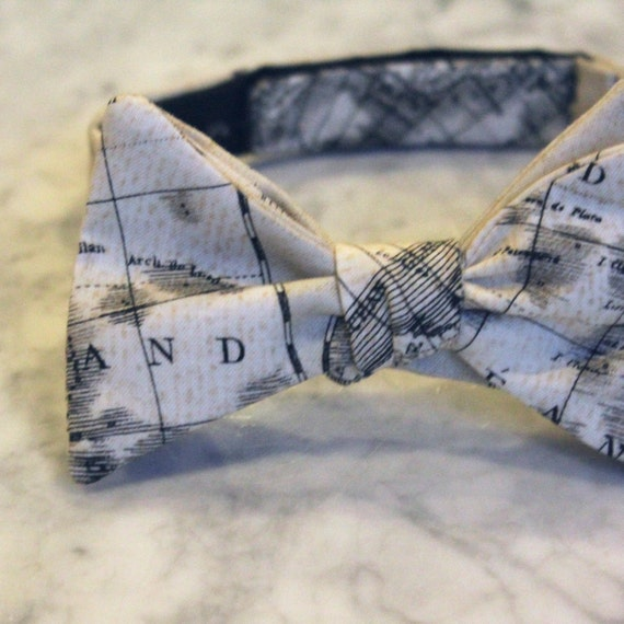 Nautical World Map in cream and black Parchment Bow Tie  - Groomsmen and wedding tie - clip on, pre-tied with strap or self tying