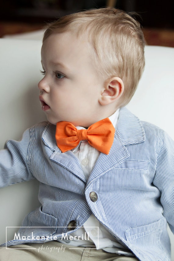 Solid Tangerine bow tie - clip on, pre-tied with strap or self tying or traditional necktie- wedding ties - Customize to any color you need!