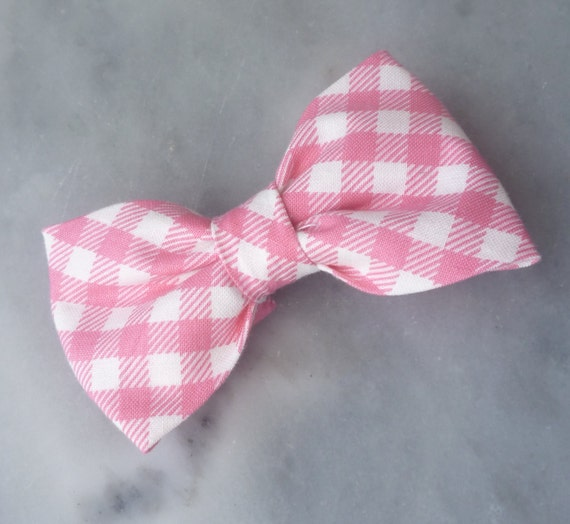 Men's Pink Plaid Bow Tie - clip on, pre-tied with strap or self tying -