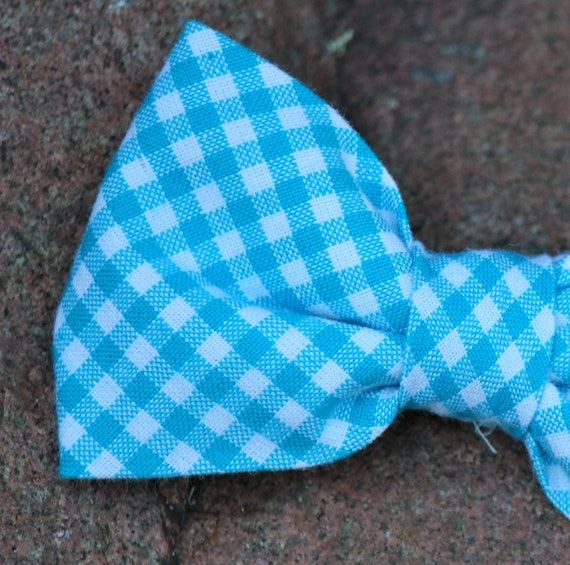 Bow Tie in turquoise Carolina Gingham - clip on, pre-tied with adjustable strap or self tying - ring bearer outfit, groomsmen gifts