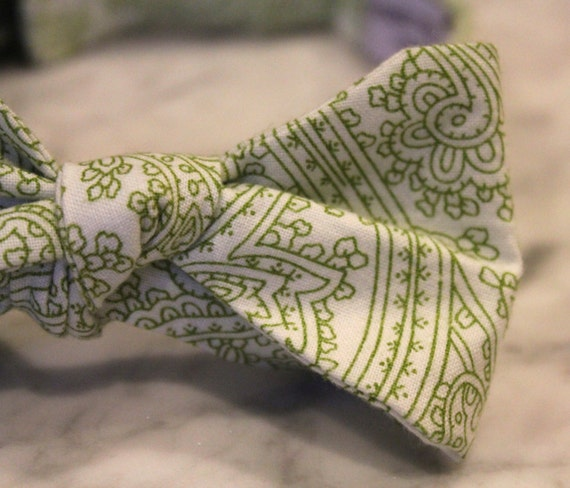 Bow Tie in Olive Posh Paisley - Groomsmen and wedding tie - clip on, pre-tied with strap or self tying