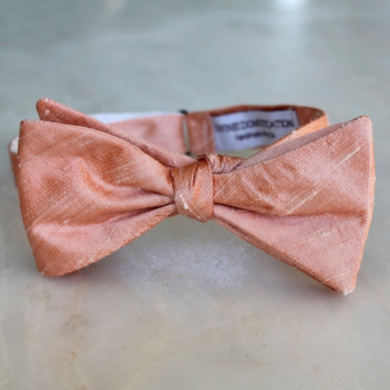 Bow Tie in Solid Peach Silk - self tying, pre-tied adjustable or clip on - wedding ties, ring bearer outfit