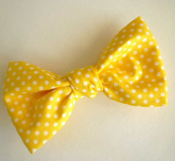 Men's Yellow Polka Dot Bow tie - clip on, pre-tied with strap or self tying - wedding attire, ring bearer outfit