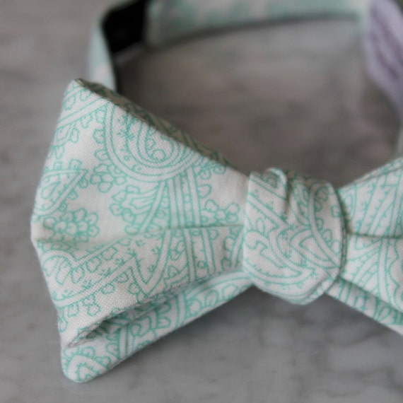 Bow Tie in Mint Posh Paisley- clip on, pre-tied with strap or self tying - for men or boys, ring bearer outfit, groomsmen gift