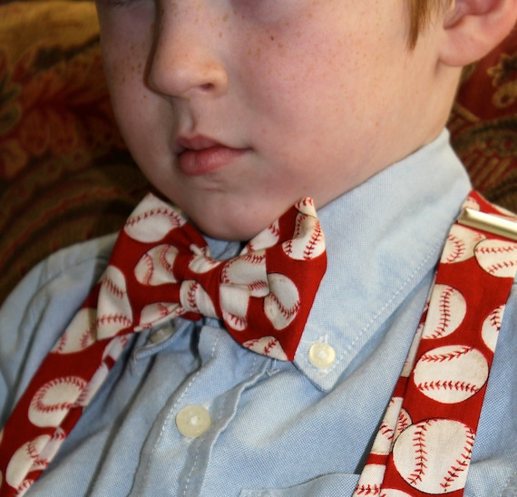 Boy's Red Baseball Clip On Bow Tie and matching Suspenders