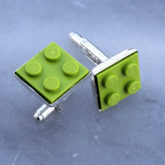 Lime Green Lego Plate Cuff Links - Silver plated - Valentine's Day Gift -