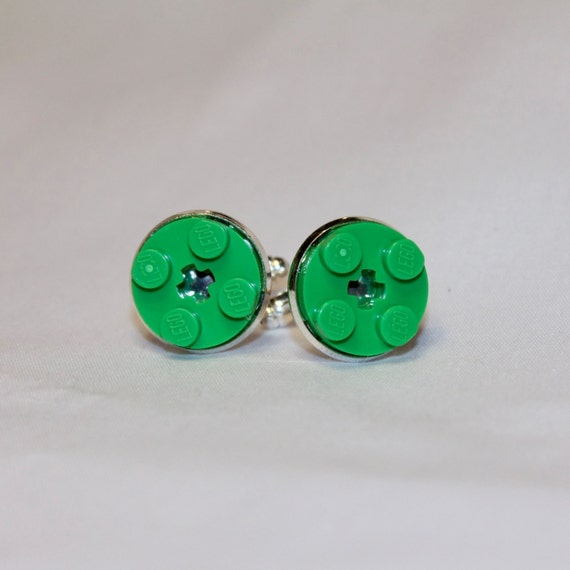 Bright Green Round Lego Plate Cuff Links - Silver plated - Groomsmen gift - Wedding accessories