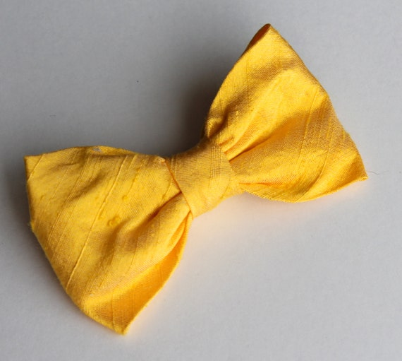 Bowtie for Men or Boys in Sunshine Yellow Silk- clip on, pre-tied with adjustable strap or self tying