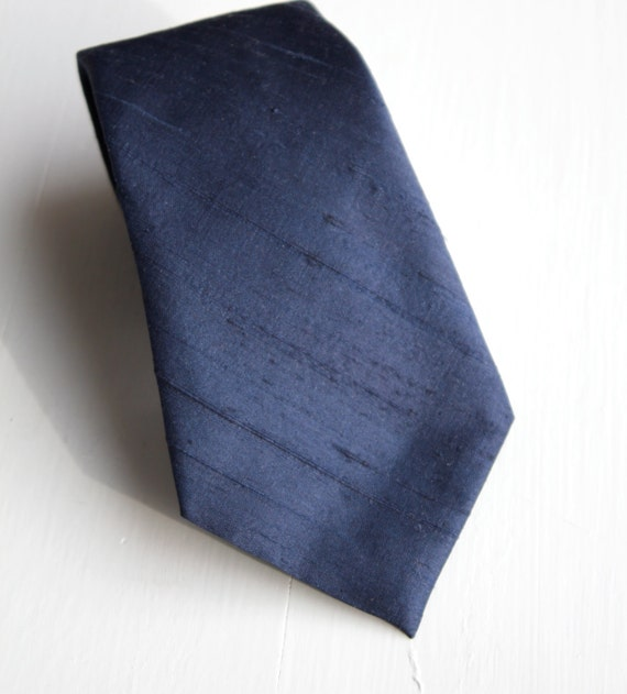Navy Blue Dupioni Silk Necktie - wedding ties, groomsmen gifts - customize to any color you want!