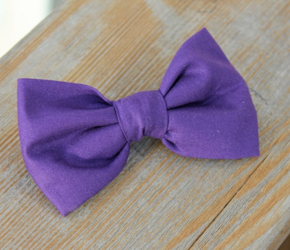 Sollid Purple Bow Tie - clip on, pre-tied adjustable strap, or self tying