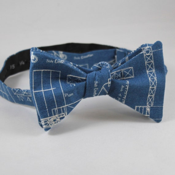 Airplaine Bueprint Bow Tie in Blue and White - Groomsmen and wedding tie - clip on, pre-tied with strap or self tying