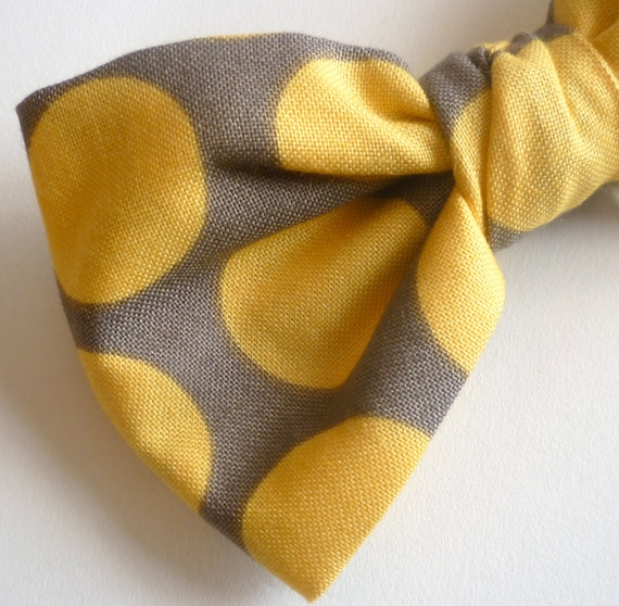 bow tie in yellow and gray retro dot - clip on, pre-tied with strap or self tying