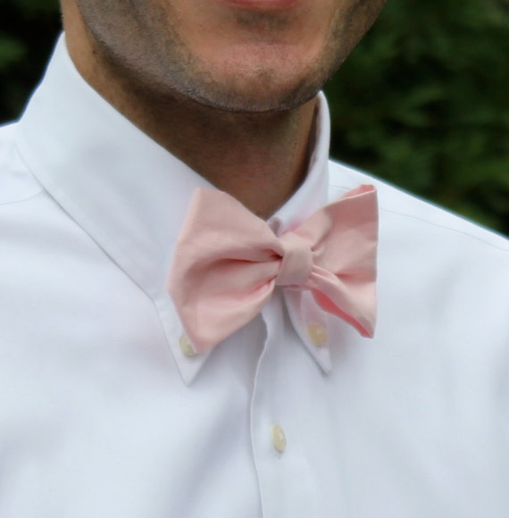 Bow tie in Solid Soft Pink for Men or boys- Clip On, adjustable strap or self tying freestyle