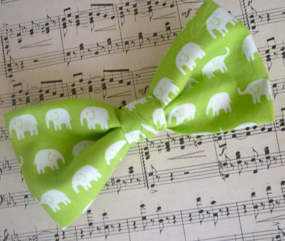 Green Elephant Bow tie - clip on, pre-tied with strap or self tying