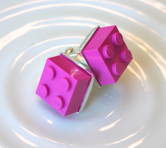 Fuchsia Pink Lego Cuff Links - Silver plated - Valentine's Day Gift -