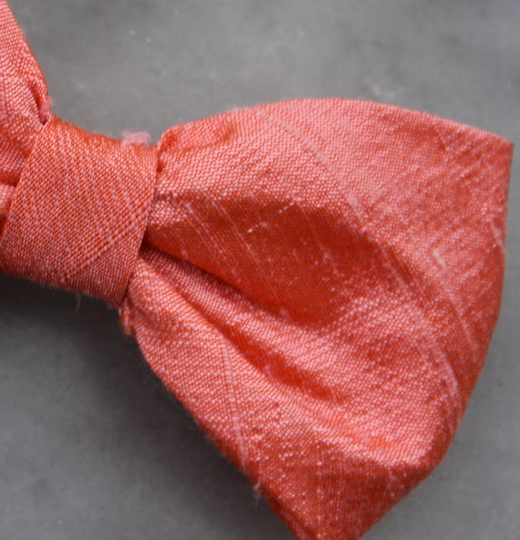 Bowtie and matching suspenders in Coral Silk - Clip on, pre-tied with strap or self tying for men or boys