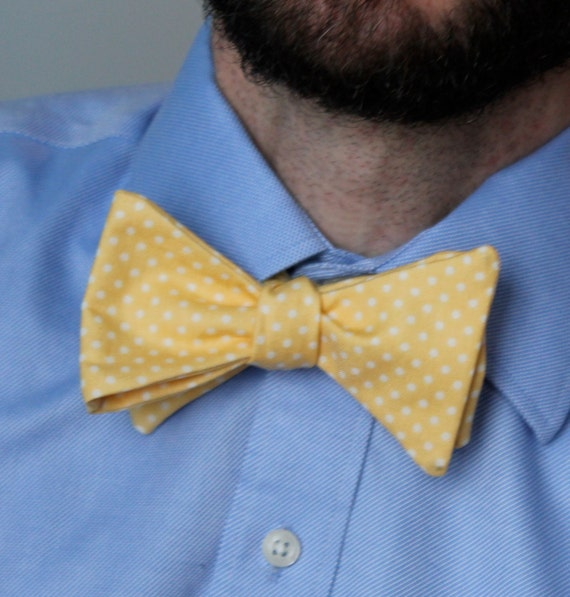 Men's Bow Tie in Yellow Dots - Clip on, pre-tied with strap or self tying for men or boys - ring bearer outfit, wedding ties