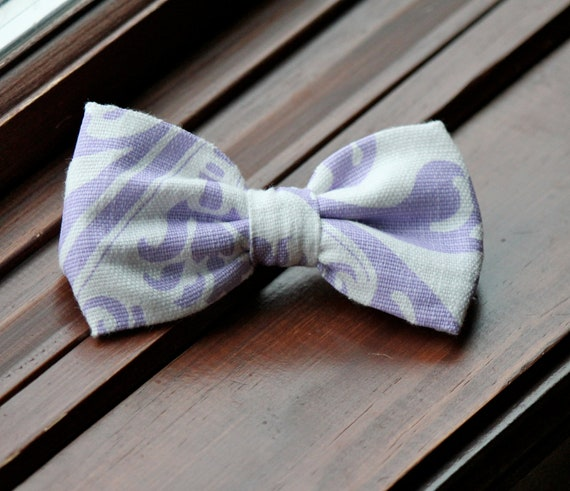 Bow Tie in Purple Linen Damask - clip on, pre-tied with strap or self tying - ring bearer outfit or groomsmen attire