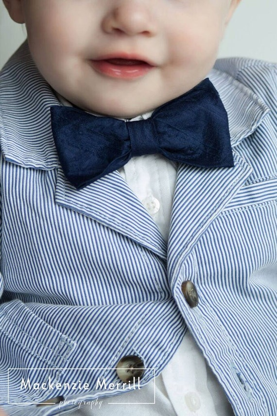 Navy Blue Dupioni Silk Bow Tie - clip on, pre-tied with adjustable strap or self tying
