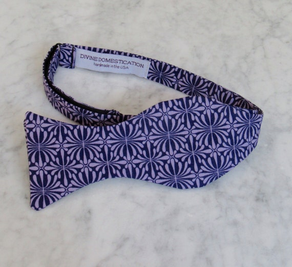 Bow Tie in Dark and Soft Purple Geometrics - clip on, pre-tied with strap or self tying - ring bearer outfit or groomsmen attire