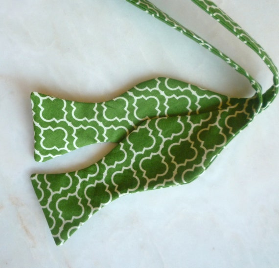 Bow Tie in Green Tile - self tying, pre-tied adjustable strap or clip on for men and boys