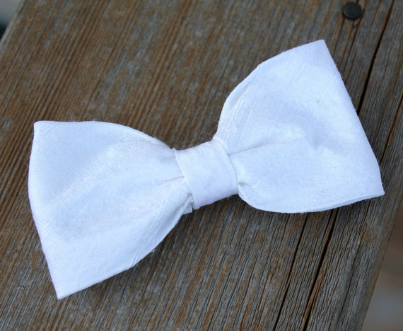 White Dupioni Silk Bow Tie - Clip on, pre-tied with strap or self tying