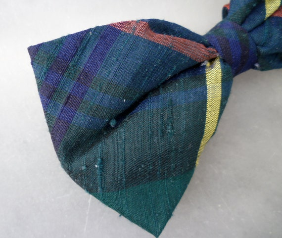 Green and Blue Silk Plaid Bow Tie for boys - Clip on, pre-tied with strap or self tying - formal necktie, wedding and holidays