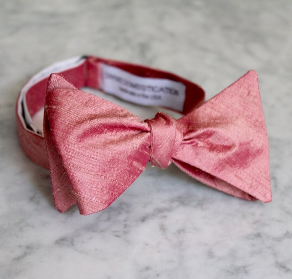 Mens Bow Tie in Watermelon Pink Silk - self tying, pre-tied adjustable or clip on