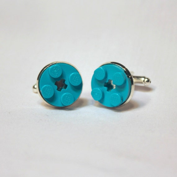 Turquoise Teal Round Lego Brick Cuff Links - Silver plated
