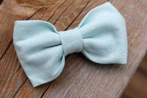 Linen Clip on Bow tie in Baby Blue - clip on, pre-tied with strap or self tying for men or boys