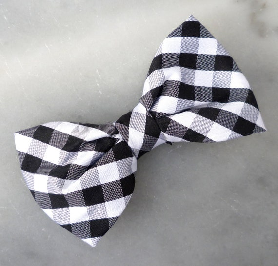 Black and White Plaid Silk Bow Tie - Clip on, pre-tied with strap or self tying - for men or boys
