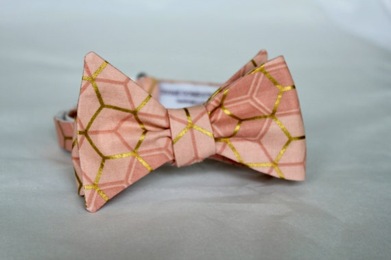 Bowtie in Dusty Peach and Gold Hexagons - Clip on, adustable strap, or self tying - wedding neckties - ring bearer outfit