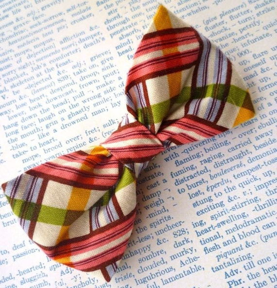 Basket Plaid Bow tie - clip on