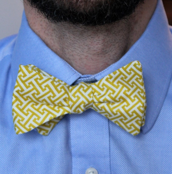 Bow Tie in Yellow Greek Key- Custom self tying, freestyle, clip on or pre-tied with strap for men or boys - wedding ties, ring bearer