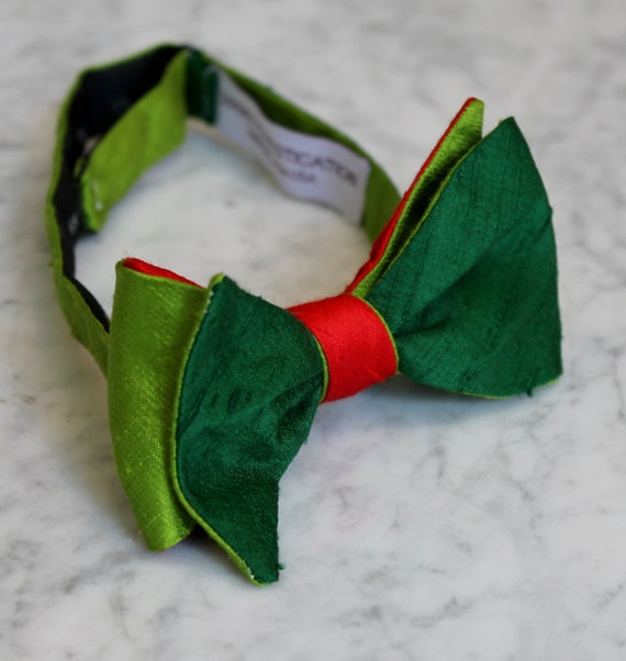 Peter Pan Green and Red Silk Bowtie- Clip on, pre-tied with strap or self tying - formal necktie, wedding and holidays