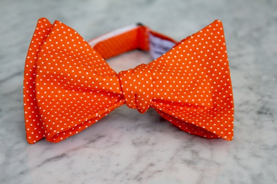 Tangerine Orange Pin Dot bowtie - clip on, pre-tied with strap or self tying or traditional necktie- wedding ties -