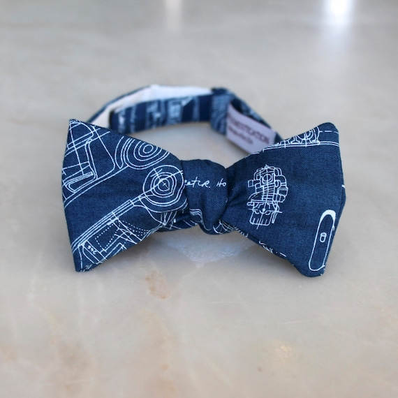 Automobile structural drawings Bow Tie in navy and white - Groomsmen and wedding tie - clip on, pre-tied with strap or self tying