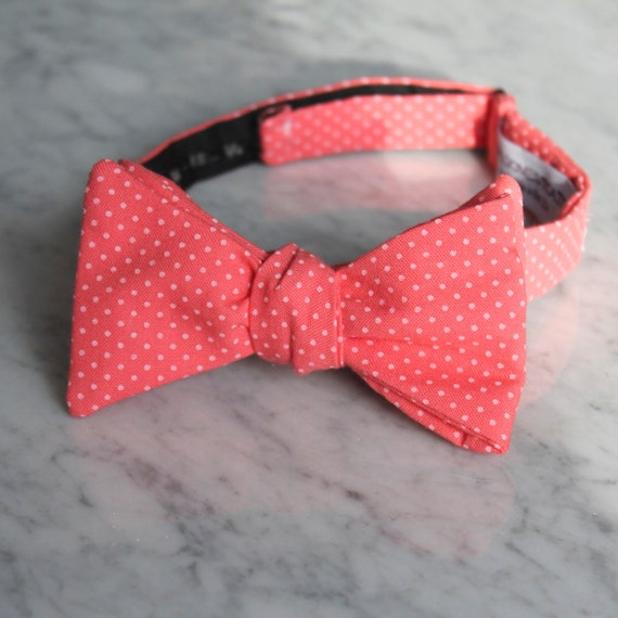 Men's Bow Tie in Strawberry Pink Pin Dots- Self tying - freestyle - Groomsmen gift and ring bearer outfit